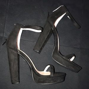 Forever 21 black chunky heel with strap.